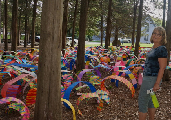 These colorful tunnels were made of wire and plastic marking tape. This is a temporary installation.